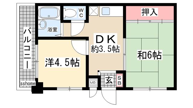 物件番号: 1123101076 グリーンハイツ山水B棟  神戸市灘区六甲台町 2DK ハイツ 間取り図