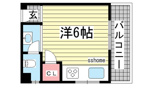 物件番号: 1123102561 プチシャトー徳井  神戸市灘区徳井町3丁目 1R マンション 間取り図