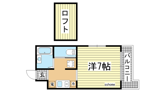 物件番号: 1123103049 ジュヌパッション 神戸市灘区新在家南町4丁目 1K マンション 間取り図