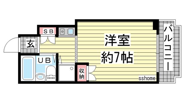 物件番号: 1123103260 ジョイフル御影V 神戸市東灘区御影本町6丁目 1R マンション 間取り図