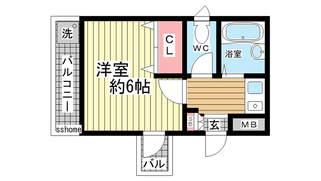 物件番号: 1123103588 ルミエールROKKO 神戸市灘区友田町3丁目 1K マンション 間取り図