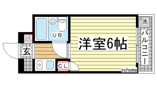 物件番号: 1123104611 六甲ハイツUEDA 神戸市灘区篠原南町1丁目 1K マンション 間取り図