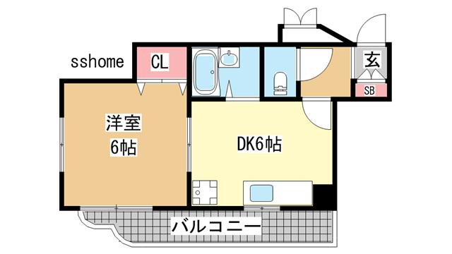 物件番号: 1123104963 メイツ摩耶  神戸市灘区灘南通4丁目 1DK マンション 間取り図