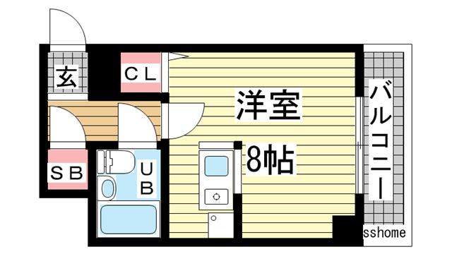 物件番号: 1123105331 イアラマンション  神戸市灘区楠丘町3丁目 1R マンション 間取り図