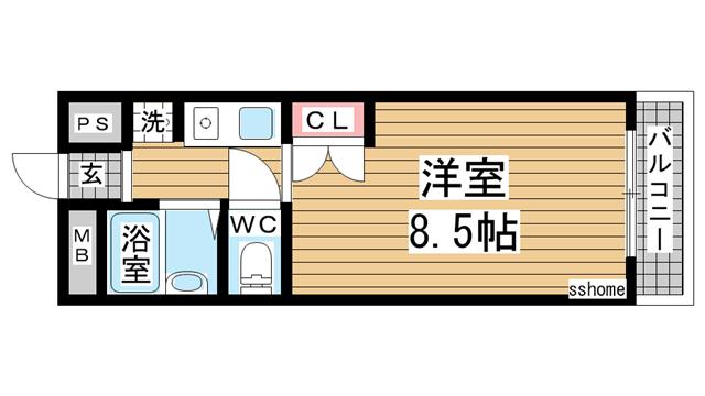 物件番号: 1123105583 萌NAKATANI  神戸市灘区赤坂通6丁目 1R マンション 間取り図