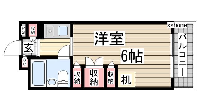 物件番号: 1123105654 プラス六甲  神戸市灘区高羽町2丁目 1K マンション 間取り図