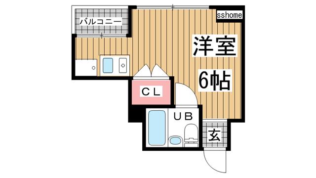 物件番号: 1123106101 ハイム御影 神戸市東灘区御影1丁目 1R マンション 間取り図