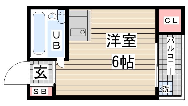 物件番号: 1123106683 ビラプリムベーレ 神戸市灘区中原通5丁目 1R ハイツ 間取り図