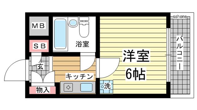 物件番号: 1123107217 フルール岡本 神戸市東灘区岡本2丁目 1K マンション 間取り図