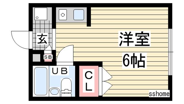 物件番号: 1123107633 NEST六甲  神戸市灘区篠原本町1丁目 1R ハイツ 間取り図