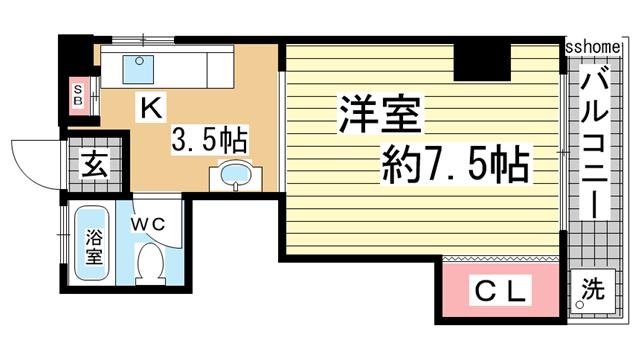 物件番号: 1123107660 シャトー御影  神戸市東灘区御影山手5丁目 1DK マンション 間取り図